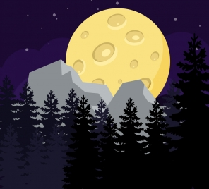 natural landscape background tree round moon icons
