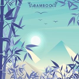natural landscape drawing mountain bamboo sun bird icons