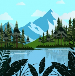 natural landscape drawing mountain lake trees decoration