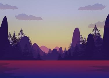 natural landscape drawing violet design tree mount icons