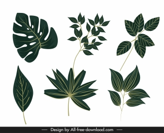 natural leaf icons classic green decor