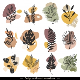 natural leaf icons classical handdrawn sketch