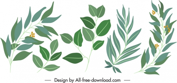 natural leaf icons green classical handdrawn design