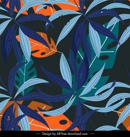natural leaves background dark colorful classic design