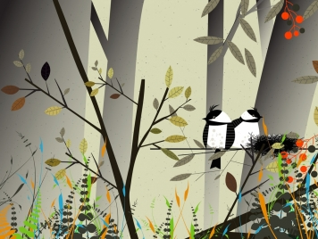 natural life background bird nest tree icons decor