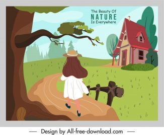 natural life banner countryside scene sketch colorful cartoon