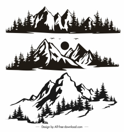 natural mountain range icons retro handdrawn sketch