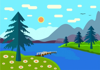 natural mountain river scenery background colored sketch style