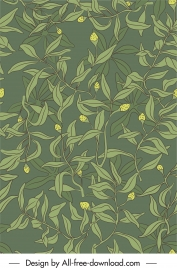 natural plants pattern leaves buds sketch handdrawn classic
