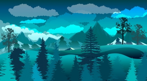natural scenery drawing dark blue decor