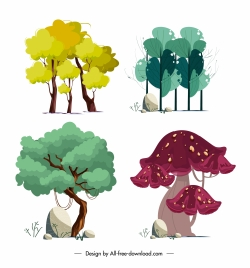 natural trees icons colorful classical handdrawn design