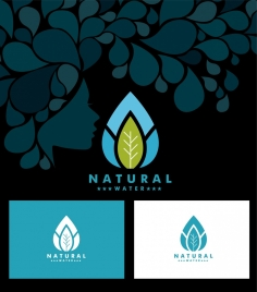 natural water icon sets leaf icon ornament