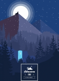 nature adventure banner moonlight mountain forest icons