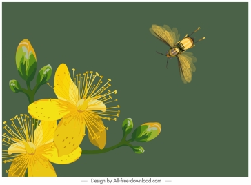 nature background blooming flower bee sketch colored classic