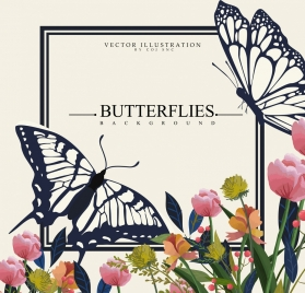 nature background butterflies colorful flowers icons decor