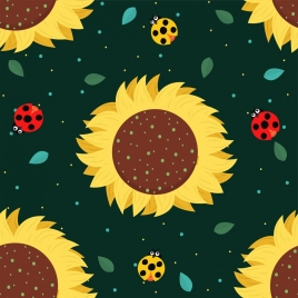 nature background colorful bugs sunflowers icons decor