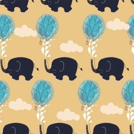 nature background elephant tree icons repeating handdrawn sketch