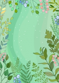 nature background green design flowers leaves decoration