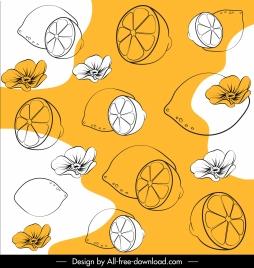 nature background handdrawn petal lemon sketch