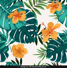 nature background hibiscus leaves decor colorful classic design