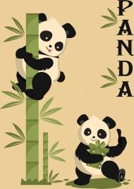 nature background panda green bamboo icons decor