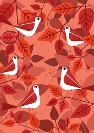 nature background red bird leaves icons decor