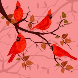 nature background red birds tree branch decoration