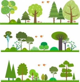 nature background sets green trees decoration cartoon design
