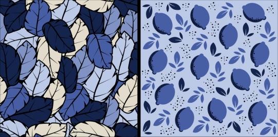 nature background sets leaves icons dark blue design