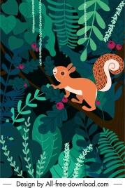 nature background squirrel jungle sketch colorful flat design
