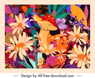 nature background template cute deer floral decor