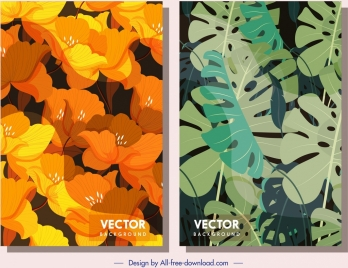 nature background templates classical flowers leaves decor