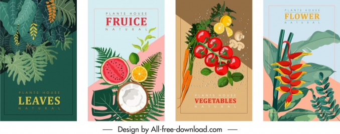 nature banners templates colorful classic fruit flora design