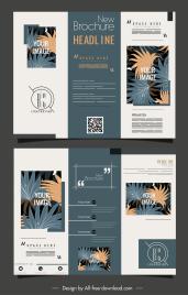 nature brochure template trifold shape classic leaves decor