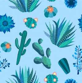 nature cactus background green blue repeating icons