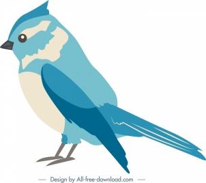 nature design element blue bird icon cartoon sketch