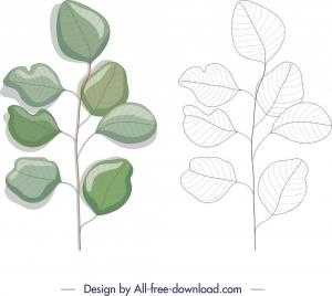 nature design element green leaf sketch