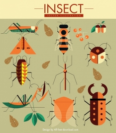 nature design elements grasshoppers bugs butterflies icons