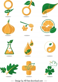 nature design elements green orange symbols sketch