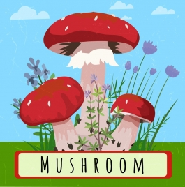 nature drawing mushroom icons multicolored design