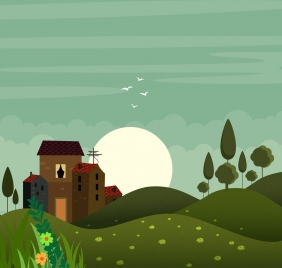 nature hill landscape drawing colored cartoon design