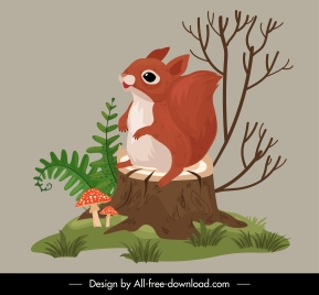 nature icon squirrel plants sketch cartoon design