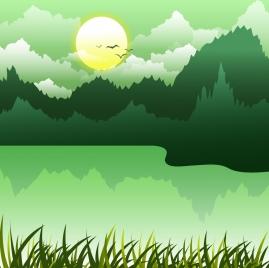 nature landscape background green decor lake forest icons