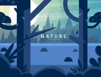 nature landscape background moonlight tree icons decor