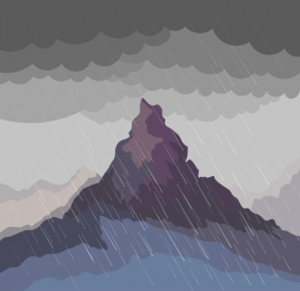 nature landscape drawing rain mountain icons colored cartoon