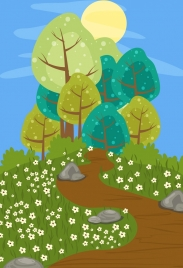 nature landscape drawing water colored cartoon design