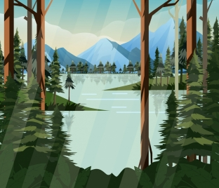 nature landscape painting lake mountain forest icons decor
