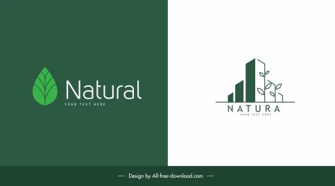 nature logo templates flat green leaf tree buildings