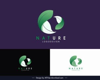 nature logotype dynamic 3d leaves sketch