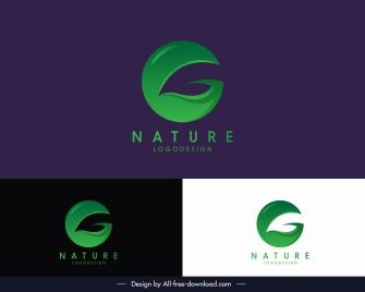 nature logotype modern green leaf sketch circle layout